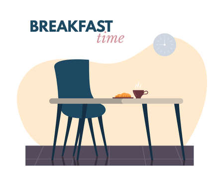 Table, chair and snack with drink for breakfast Иллюстрация
