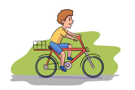 Boy riding bicycle flat illustration. Child on bike with basket cartoon character. Environment friendly, ecologically clean personal transport. Healthy lifestyle, nature protection.