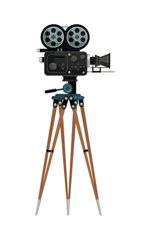 Camera on tripod vector illustration. Black old fashioned videocamera isolated clipart on white background. Cinematography and filmmaking, cameraman equipment. design element.