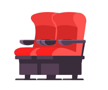 Cinema seats vector illustration. Cartoon movie theater comfortable chair isolated clipart on white background. Red modern armchair for auditorium and concert hall design element.