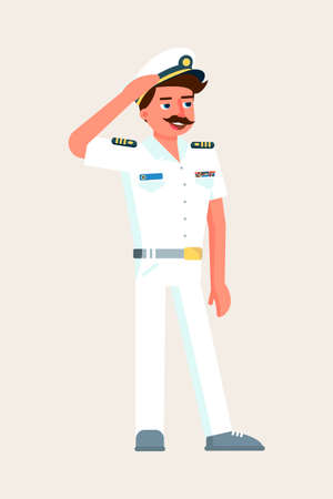 Ship captain military character saluting on white Иллюстрация