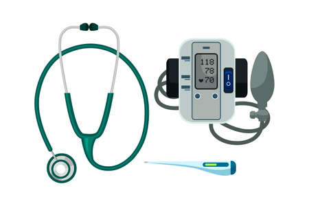 Stethoscope, thermometer, blood pressure meter set