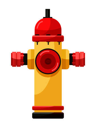 Yellow fire hydrant water supply device on white Иллюстрация