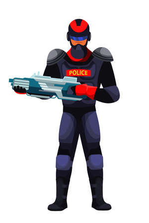 Futuristic police guard man with innovative weapon. Military male character holding blaster. Vector illustration. Иллюстрация
