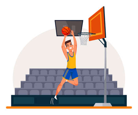 Basketball player flat vector illustration. Sportsman wearing professional uniform. Athlete cartoon character on stadium drawing. Man throwing ball in basket. Job, hobby, occupation