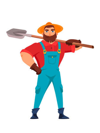 Male farmer holding shovel in hand flat vector illustration. Farmer standing with spade. Farming work, gardening. Agricultural worker with garden tool. Gardener, agronomist cartoon isolated character