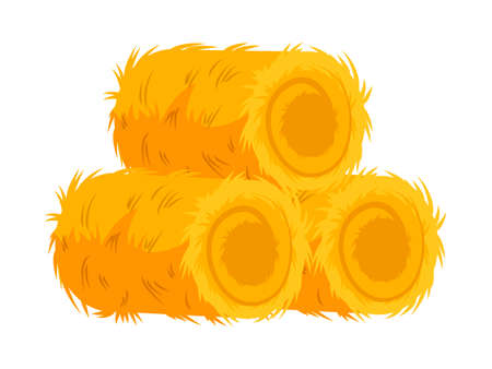 Farming dry hay bale haycock isolated on white. Agricultural rural yellow straw haystack. Farm agriculture. Farm eco natural cartoon element for livestock animal. Vector flat illustration