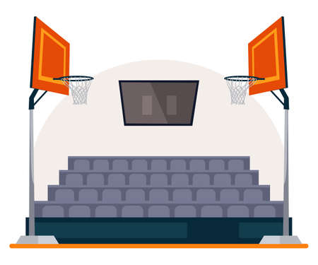 Basketball field, arena, stadium, court with scoreboard on ceiling, two basket hoop and seats in fan sector zone. Empty sport playground. Hall for team games. Vector sportive interior illustration Иллюстрация