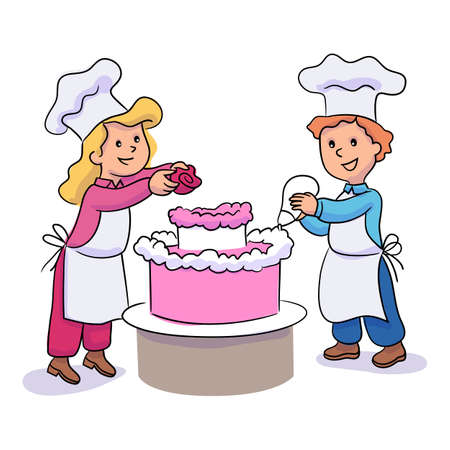 Little boy and girl decorating cake with icing and cream rose. Cute children character cooking, baking, making sweet festive desserts. Happy family. Confectionery culinary school. Vector illustration Иллюстрация
