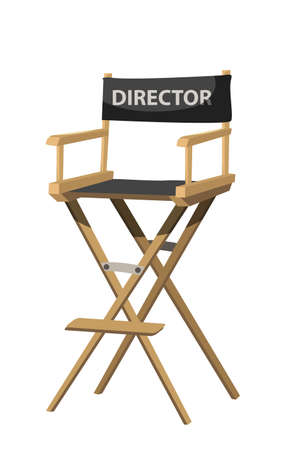 Movie director chair vector illustration. Filmmaker armchair 3d isolated clipart on white background. Cinematography and filmmaking industry. Cinema producer seat design element Иллюстрация