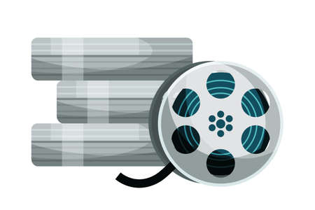 Filmstrip reel vector illustration. Vintage videotape isolated clipart on white background. Cinematography and filmmaking equipment. Film strip rolls, camera tape design element
