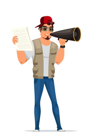 Movie director male character with script paper sheets in hands standing isolated on white. Man filmmaker in casual clothes, cap, glasses talking in megaphone. Cinematography. Vector illustration
