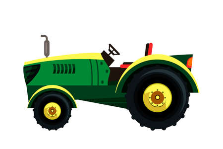 Old vintage green tractor without roof. Wheel farmer auto equipment. Heavy agricultural machinery for field work isolated on white. Transport for farm. Side view. Vector flat illustration