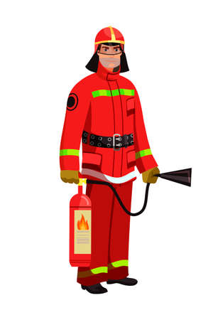 Man firefighter in red protective uniform, mask and helmet with fire extinguisher standing on white. Professional fireman cartoon character. Fire department worker, rescuer. Vector illustration