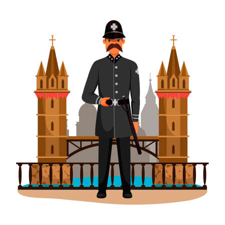 Guard man queens patrol soldier character in post. Ancient palace guardian wearing army uniform. British security guy. English surveillance. Historic tower on backdrop. Vector illustration