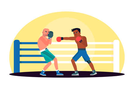 Two cartoon male boxer character engaging in fight in ring. Strong fighters. Dangerous sport. Battle spectacle event. Pride, power and skill courage. Match, competition. Vector flat illustration