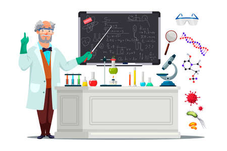 Senior male scientist in white coat and protective glasses standing blackboard and pointing with pointer to written formula. . School teacher, college university lecturer. Table with lab equipment