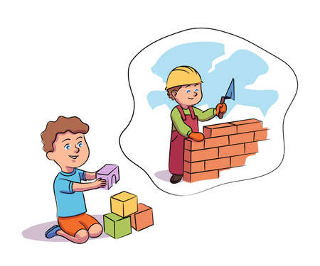 Preschool boy playing with blocks on floor dreaming become builder. Cute child in playroom. Dream about future profession. Aspiration being constructor. Vector illustration