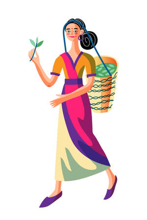 Happy smiling asian girl carrying wicker basket with green tea leaves. Woman in traditional chinese clothes standing isolated on white. Traditionally dressed female character. Vector illustration
