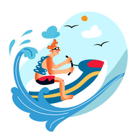 Excited man character riding jet ski. Guy enjoying extreme water sport. Planning summer vacation. Summertime activity. Active lifestyle adventure. Wave surfing. Tropical resort. Vector illustration Иллюстрация