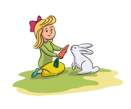 Cheerful little girl feeding, giving carrot cute grey rabbit on farm yard. Happy child and domestic animal contact. Kid playing with funny hare. Childhood and farming. Adorable preschooler and bunny