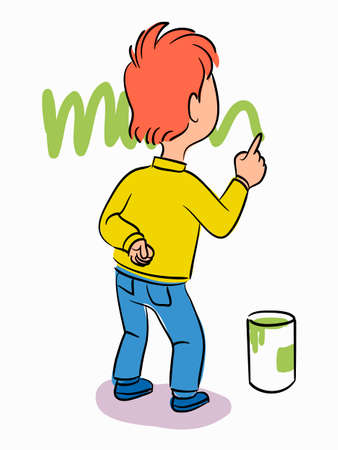 Little boy drawing green line or grass on wall with finger paint. School or kindergarten education process. Creative hobby. Talented cheerful children. Vector illustration