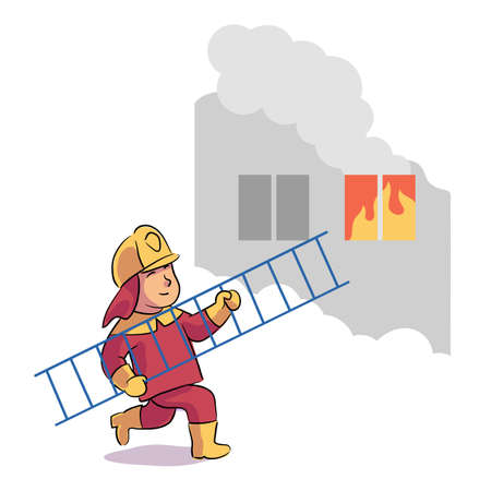 Boy firefighter wearing uniform and helmet running with ladder to burning window in house. Fireman firefighting, fighting with blaze and smoke, extinguishing with big fire. Vector illustration