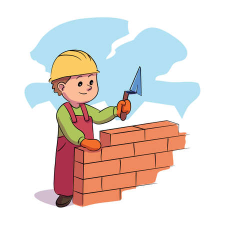 Boy kid builder holding level tool doing brickwork. Child character in uniform working around brick wall. Young construction worker. Professional craftsman, workman. Vector illustration