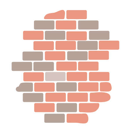 Brick wall building block construction isolated on white background. Material for home repair. Brickwork. Exterior architecture structure part. Grunge textured backdrop. Vector illustration