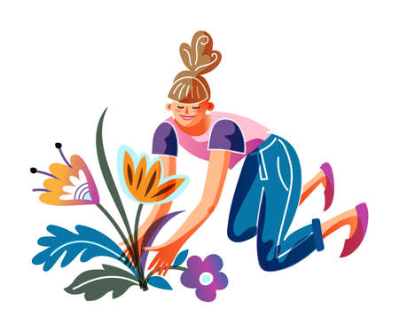 Young woman planting flower in seedbed. Girl sitting on ground in squatting position. Gardening people and spring horticulture time. Work in garden. Outdoor activity on backyard. Vector illustration