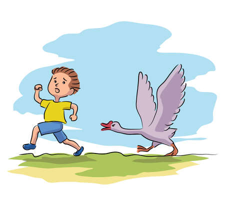 Scared little boy running away from goose on village farmyard. Frightened kid and domesticated bird. Children fear and panic. Helpless situation. Summer vacation at countryside. Vector illustration Illustration