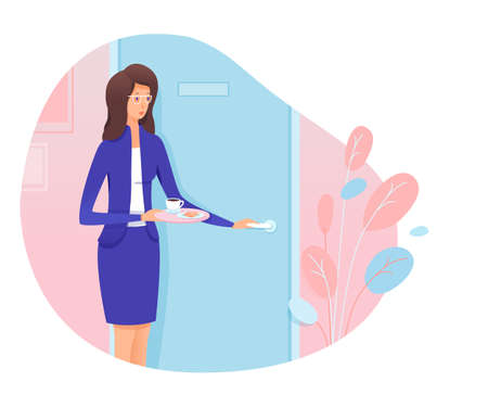 Young woman secretary knocking stand front of boss cabinet entrance door. Girl personal assistant bringing coffee to chief. Professional relationship and office administration. Vector illustration