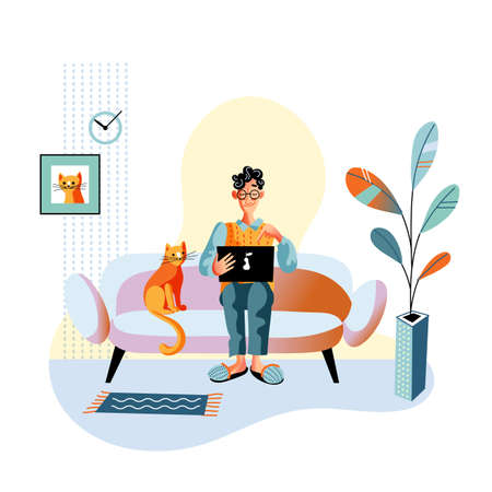 Happy smiling man working, chatting, watching movie, having video call, gaming on laptop sitting on sofa in cozy living room at home. Cat on couch. Remote work, rest, relax. Vector illustration