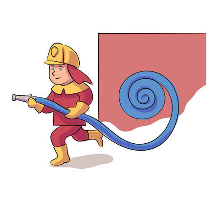 Brave boy fireman character wearing protective uniform and helmet with fire hose rushing to extinguish fire. Emergency rescue alarm. Firefight and emergency help service. Vector illustration