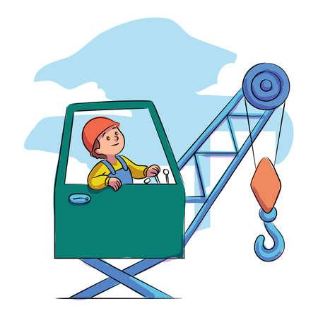 Little boy builder working on tower crane machine. Child engineer and building equipment. Future job practice. Construction site, housing, infrastructure. Industrial engineering. Vector illustration