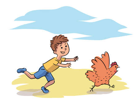 Misbehavior boy chase hen on farm yard. Child play running after domestic bird. Funny naughty kid character. Bad behavior in village. Fun recreation at countryside. Vector illustration