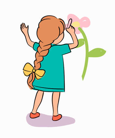 Little girl drawing flower on white wall. Cute child character standing isolated. Hobby, interest, fun. Creativity, education, development. Full length portrait. View form back. Vector illustration