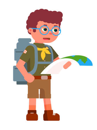 Serious boy scout holding paper map for navigation. Concentrated teenager wearing eyeglasses, suit, backpack. Kid looking for rout. Child standing isolated on white background. Vector illustration
