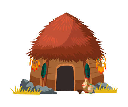 African tribal hut house isolated on white. Traditional aboriginal design and decoration. Ancient ethnic culture building with roof made from straw. Primitive ecologically clean dwelling illustration