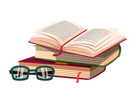 Open book on pile with eyeglasses isolated on white. Literature stack. Library and education. Writer attribute and accessory. School office supplies, stationery. Vector flat illustration Vectores