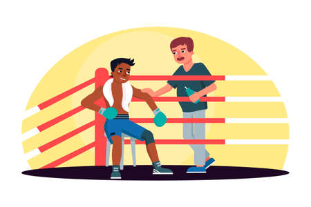 Male boxer receiving training manager guidance rest in ring corner between rounds. Box fight club. Professional boxing match. Sportsman cartoon character. Sports competition. Vector flat illustration