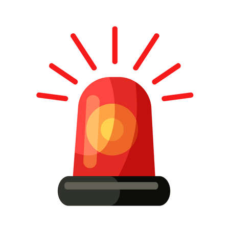 Red police, ambulance, fire alarm siren alert emergency effect flasher isolated on white. Cartoon firefighters flashing light notifying about dangerous and hazard. Vector flat illustration