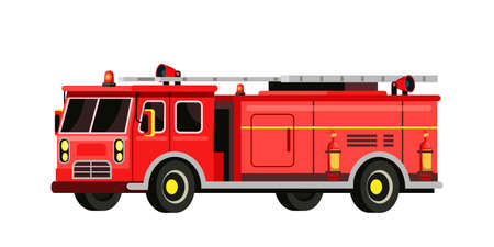Firefighter red truck flat vector illustration. Firefighting machine, professional equipment isolated clipart on white background. Fireman emergency, rescuer service car design element 일러스트