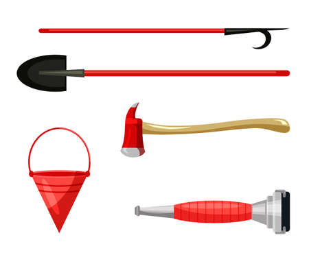 Work tool to free people injured in fire flat set. Extinguishing hose pipe nozzle, cone-shaped bucket, shovel, axe hatchet, pike pole. Isolated fireman equipment, hand instrument. Vector illustration Ilustracja