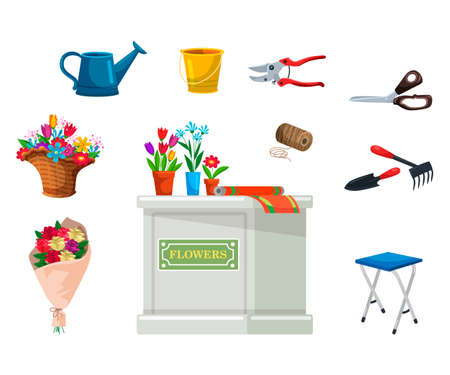 Isolated florist equipment for flower shop set. Potted plants, bouquet, desk counter, scissors, clipper, folding chair, bucket, watering can, thread skein. Floristic store items. Vector illustration