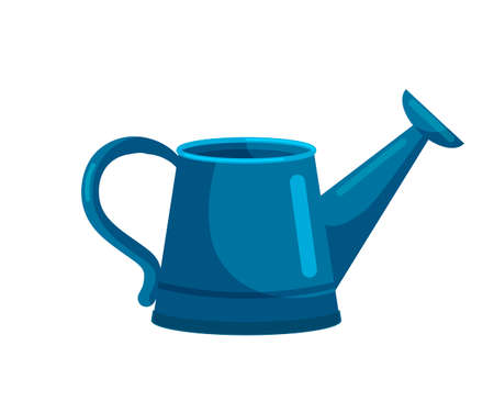 Blue watering can garden equipment tool isolated on white backdrop. Farmer item equipped with two yellow handle, perforated nozzle. Traditional horticultural instrument. Side view. Vector illustration 向量圖像