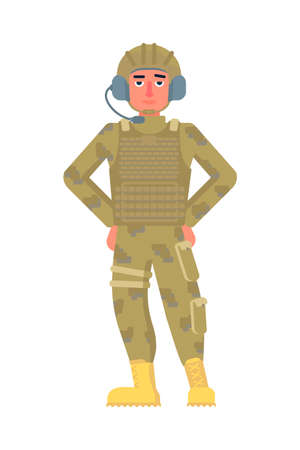 Military signalman character wearing headset on helmet avatar. Man army soldiers in uniform and boots standing isolated on white. Tankman full length portrait. Vector cartoon illustration Ilustração