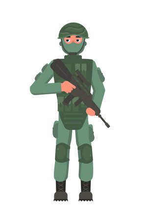 Infantryman military character holding assault rifle in hand. Brave man foot soldier in camouflage, body armor, facial mask and helmet standing isolated on white. Guard or sentry. Vector illustration