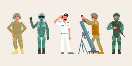 Military male character set people in various occupations. Infantryman with assault rifle, artilleryman charging howitzer, ship captain saluting, soldier in biohazard ammunition, signalman or tankman