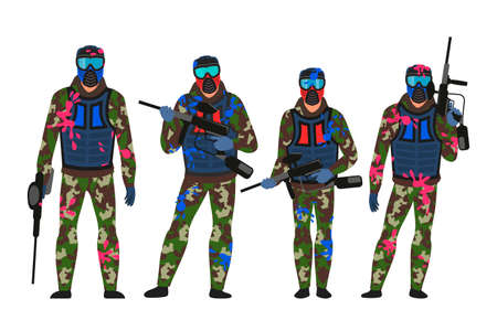 Paintball players set in standing position isolated on white. Men in dirty military camouflage and protective blue masks holding shoot guns in hands. Team game. Vector illustration Illustration